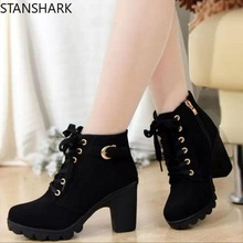2019 New Autumn Women Winter Boots High Quality Solid Lace-up European Ladies shoes PU high heels Women Suede Boots 35-41