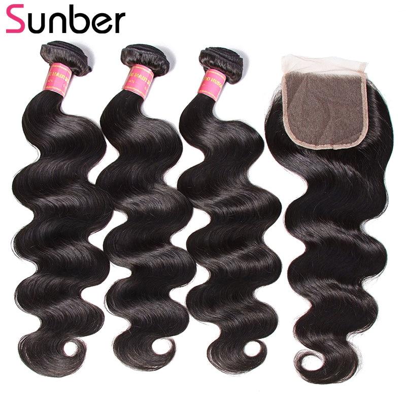 SUNBER HAIR Brasileño Body Wave 3 Paquetes con cierre Free Part - Cabello humano (negro)