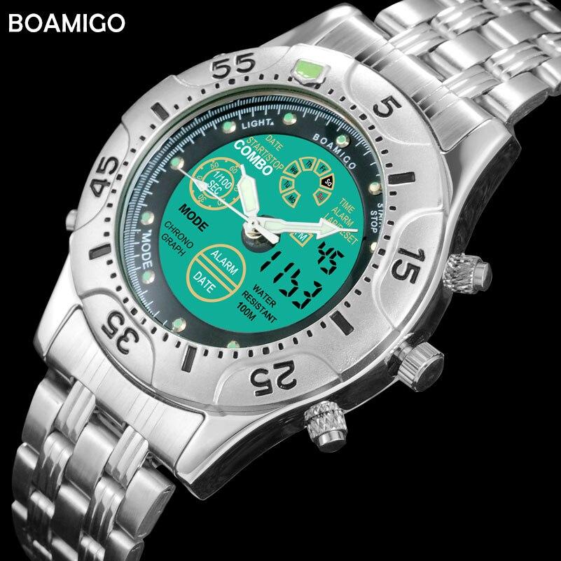 Men Sports Watches BOAMIGO Brand Quartz Watches LED Analog Digital Watches Stainless Steel Band Gift Wristwatches Reloj Hombre