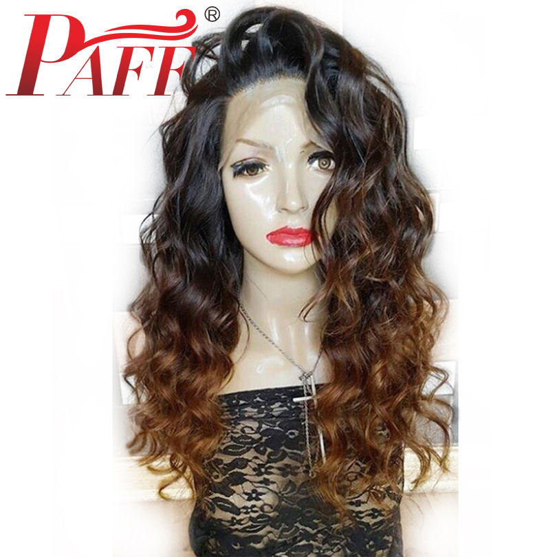 PAFF 1b/30# Ombre Full Lace Human Hair Wigs Pre Plucked Brazilian Remy Hair Wigs with Baby Hair Two-Tone Wavy Wigs 180% Density
