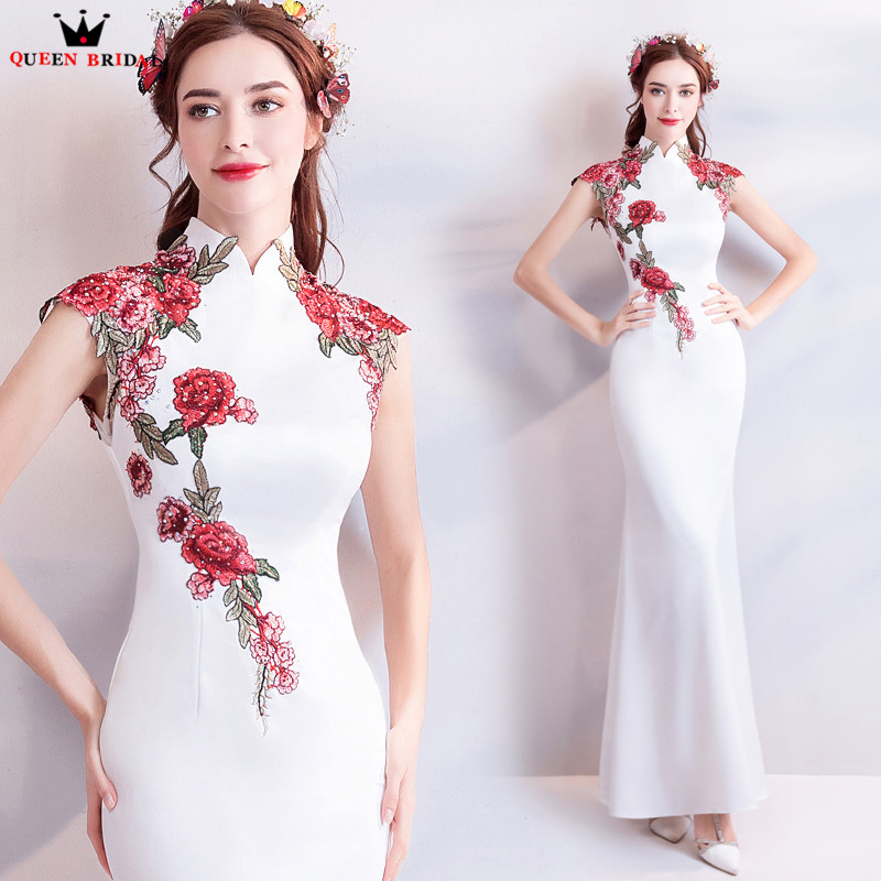 Mermaid High Neck Satin Embroidery White Sexy   Evening     Dresses   2018 New Design Prom Party   Dress     Evening   Gowns Robe De Soiree NT56