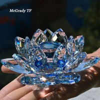 홈 장식 액세서리 웨딩 장식에 대 한 80mm 석 영 크리스탈 유리 연꽃 공예 크리스탈 인형