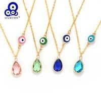 Lucky Eye cristal pendentif collier goutte huile mauvais œil collier coloré perlé en couches collier bijoux pour femmes fille EY6134