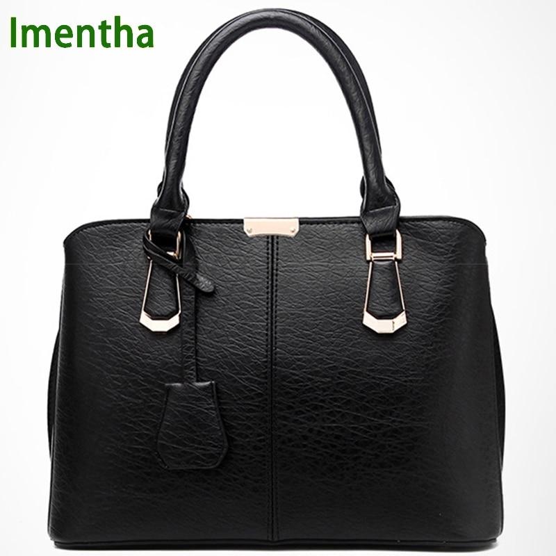 2017 moda negro Bolsas de asa superior bolsas de asas femeninas para las mujeres monederos y bolsos de las mujeres bolsos de cuero bolso de hombro de las mujeres
