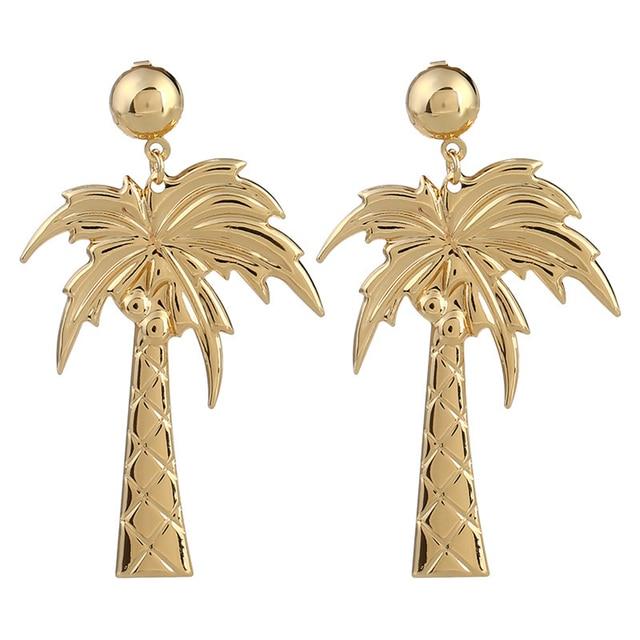 Women Elegant Coconut Palm Tree Stud Earrings Summer Beach Jewelry Xmas Gift
