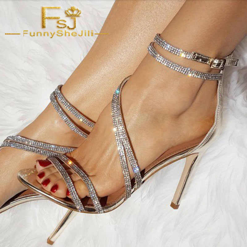 2fbbb1840f1d Silver Crystal Rhinestone Ankle Strap Open Toe Ladies Stiletto High Heels  Sandals Summer 2019 Sexy Party