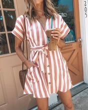 Hot Sale Vertical Striped Above Knee Dress Streetwear Summer Woman V Neck Short Sleeve Button Mini Dress With Sashes open shoulder mini vertical striped dress