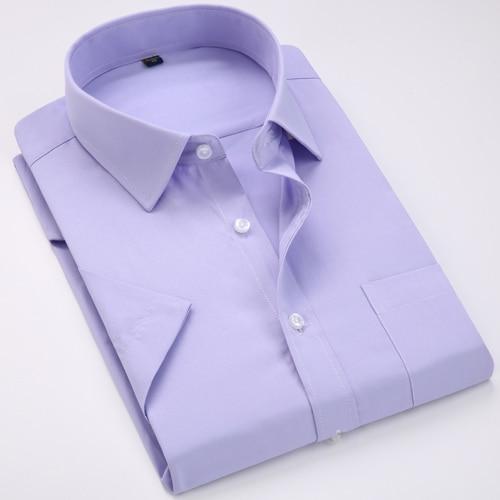 Men's Regular-fit Summer Short Sleeve Solid Classic Shirt Single Patch Pocket Formal Business Work Office Basic Dress Shirts 16