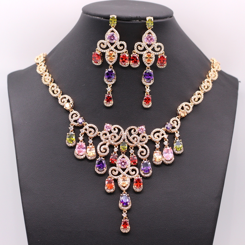 GZJY Luxury Women Gold Color Jewelry Sets Crystal Chain Necklace Earrings Jewelry Sets For Women Wedding Party 7colors gzjy gorgeous simulated pearl bridal jewelry sets crystal gold color flower necklace earrings sets wedding jewelry