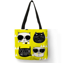 INS Fashion Hot Cat Print Tote Bag Reusable Linen Shopping