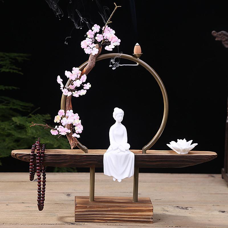 วัฒนธรรม Elegant Creative Backflow ธูป Burner แบบดั้งเดิมพระพุทธรูป Lotus คลาสสิกควันน้ำตก Home Decor-ใน ธูปและกระถางธูป จาก บ้านและสวน บน   2