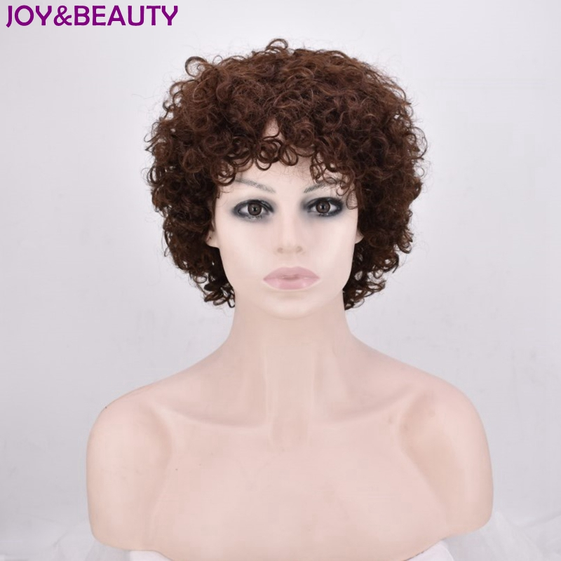 JOY&BEAUTY Short Curly Wig 12inch Synthetic Short Wigs Brown And Black color High Temper ...