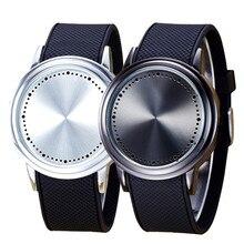 Горячие эфирные relogio masculino Мода Пара Сенсорный экран круговой узор силиконовой лентой светодиодный наручные часы march6