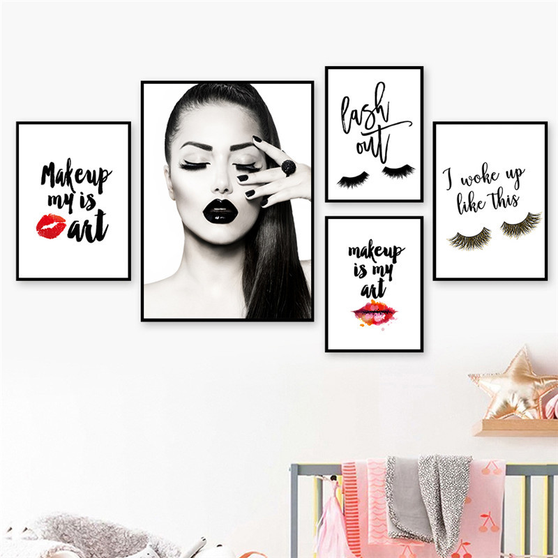 Makeup Girl Wall Pictures Art Print Fashion Beauty Canvas Painting Red Lip Art Poster Eyelash Wall Decor HD2613
