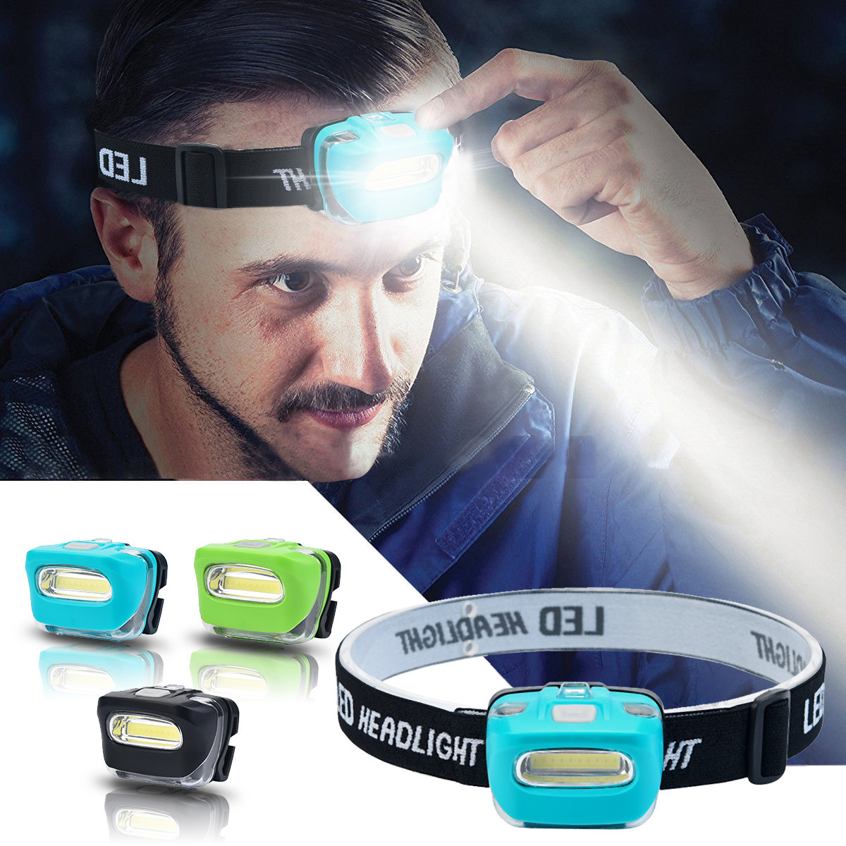 Hot Portable Cob Led Camping Hiking Mini Headlamp Head Torch Light 3 Modes Headlight Waterproof Outdoor Biking Camping Equipment