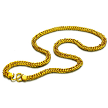 New fashion men long curb chain.8 mm60cm real 24 k gold plated necklace.Golden necklace jewelry will not change the color of