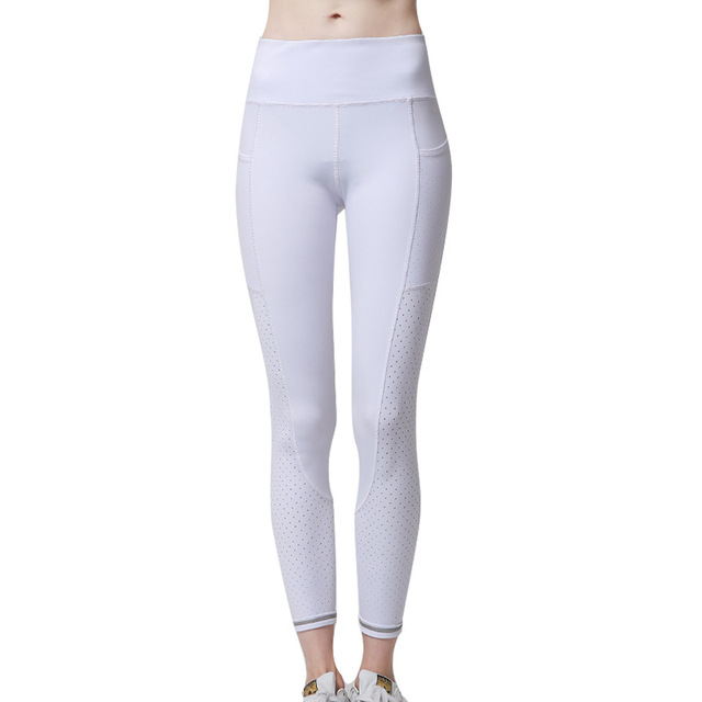 Gym Leggings with Pocket Colorvalue Breathable Mesh Running Jogger Tights Women Stretchy Sport Fitness Pants Reflective Yoga 1