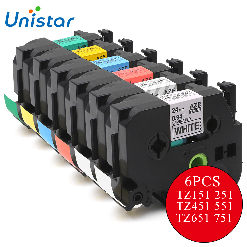 UNISTAR 6PCS Label Tapes Compatible for Brother P-touch Printer Ribbons TZ Tapes 24mm miexed colors TZe-151 TZe-251 TZe-651 розетка legrand valena для tv белый 774430