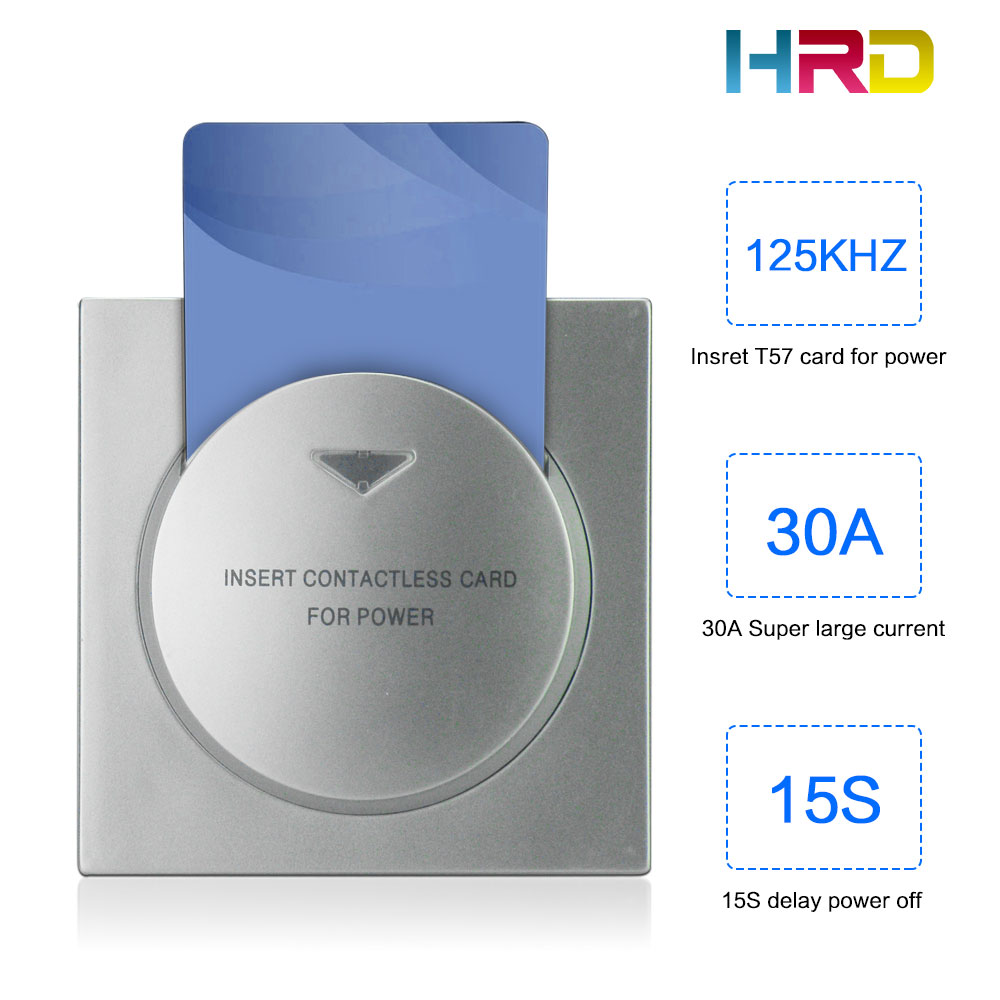 Access Control Factory Direct Selling Hiread Brand 125khz T57 T5567 Rfid Wall Insert Hotel Room Card Key Energy Saving Round Whit Switch