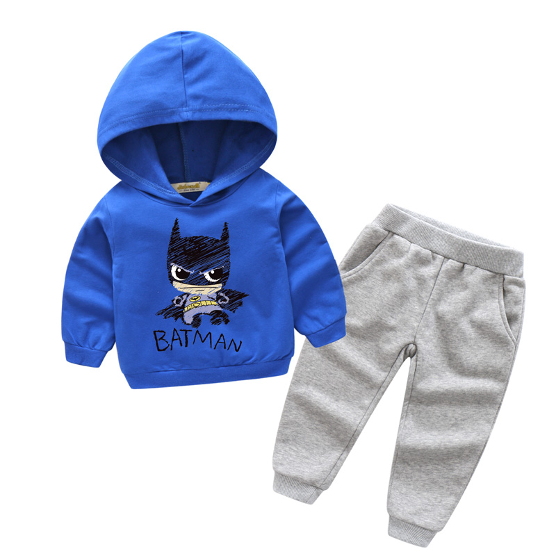 2018 New Years Children Spring Cotton Hooded Sport Clothes Sets For Boy Suits Girls Clothing Kids Batman Print Tracksuits TZ004 2017 brand spring children s boy and girlsclothing sets kids tiger printed two pieces suits cotton toddler outerwear coustme