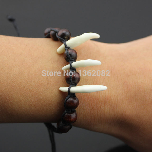 Hand Woven Wooden Beaded Amulet Tibet Fangs Real Tooth Bangle Men Women S Wolf Bracelet Lucky Gift Yb53