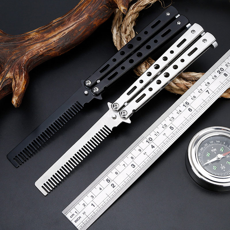 Stainless Steel Practice Butterfly In Knife Training Blade Folding CS Go Comb