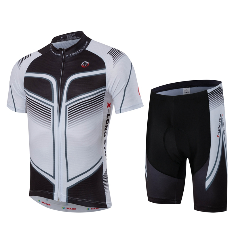 HOT SAIL SUN Men White MTB Cycling Clothing Summer bike Jersey Bib Shorts Black Outdoor Sports Pro team ropa Bicycle Top wear