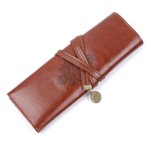Women Vintage Cosmetic Bag Twilight Kit Pens Makeup Brushes Bag PU Leather Travel Make Up Bag Toiletry Organizer Holder