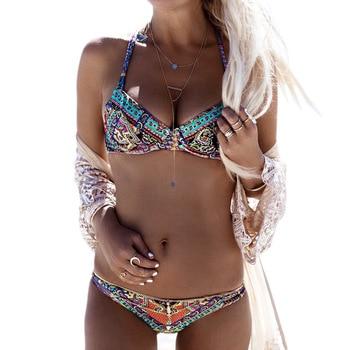 Black Friday Deals New 2017 Summer Women Sexy bandage Floral Bikini Set Push up Padded swimwear Swimsuit Bathing Beachwear