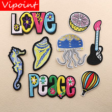 VIPOINT embroidery letter patches foods badges applique for clothing XW-114