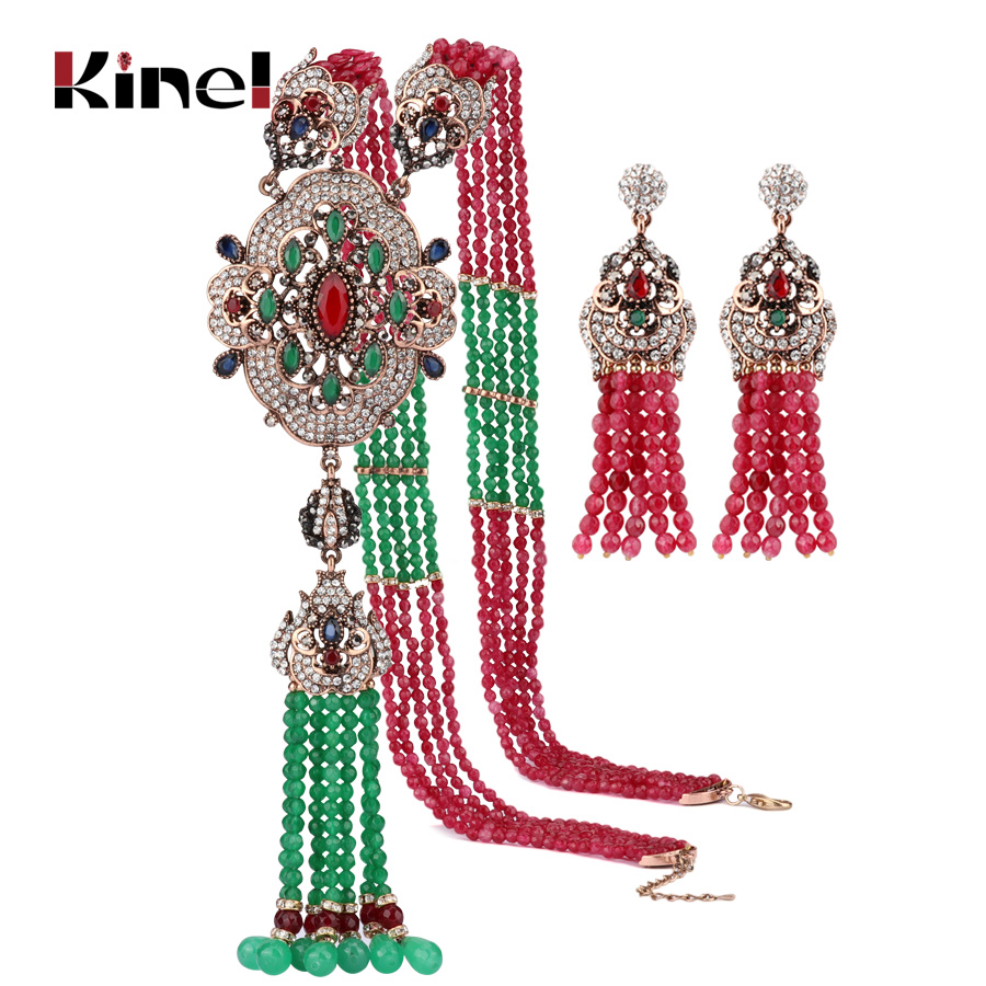 Kinel Natural Stone Beads Tassel Necklace Drop Earrings Jewelry Set For Women Antique Gold Luxury Party