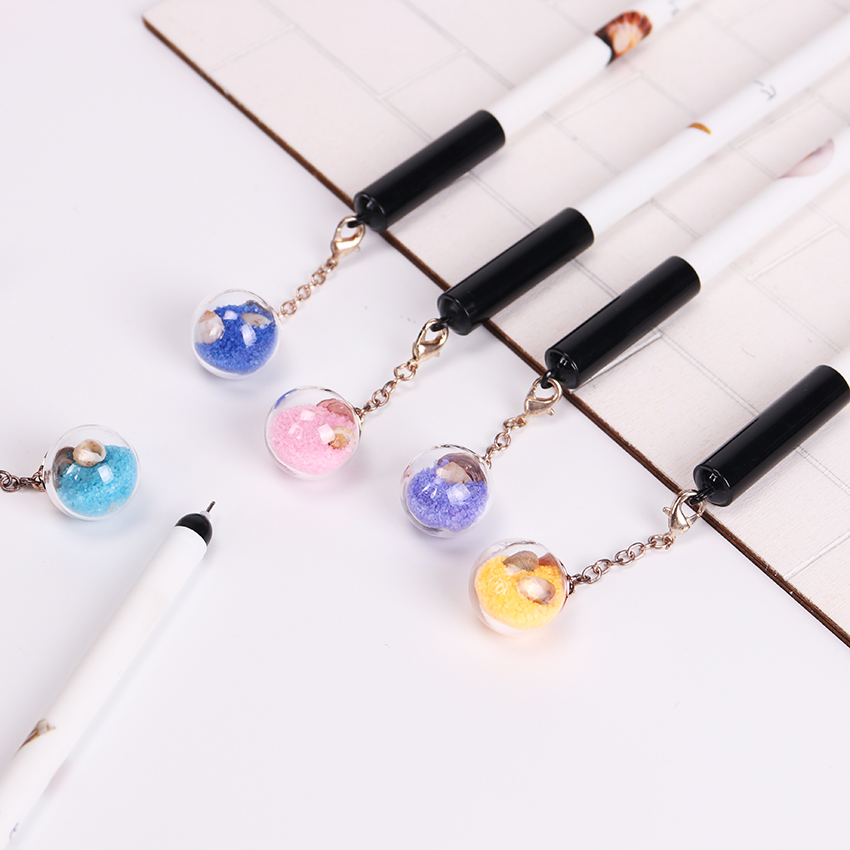 5PCS 0.5mm Cute Plastic Black Ink Gel Pen Romantic Glass Ball Pendant Pens for Writing School Office Supplies Stationery 3pcs set kacogreen liquid ink gel pen plastic student office writing pens black blue red ink school supplies stationery