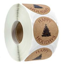 500pcs/roll Christmas tree happy holidays stickers for gift party favors wedding gifts guests personalized