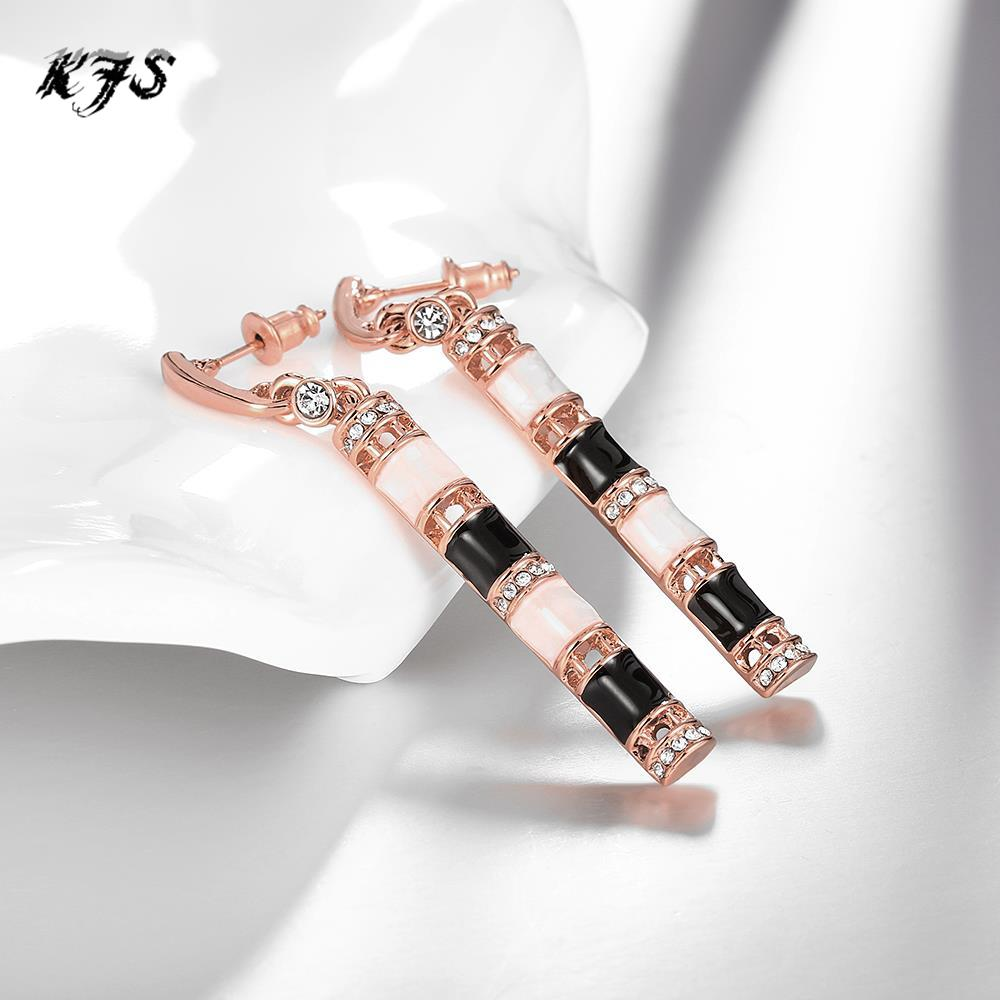 European Fashion Long Section Bamboo Opal Earrings Gold Color Enamel  Earrings For Women Free Shopping(