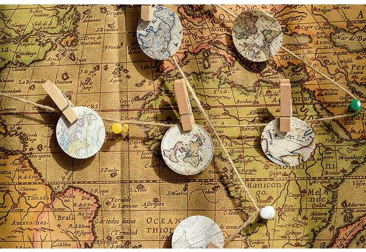 Купить с кэшбэком 46PCS/PACK Retro World Map Round Sticker Scrapbooking Stickers Marker Diary DIY Decorate School Stationery Bullet Journal sl1713