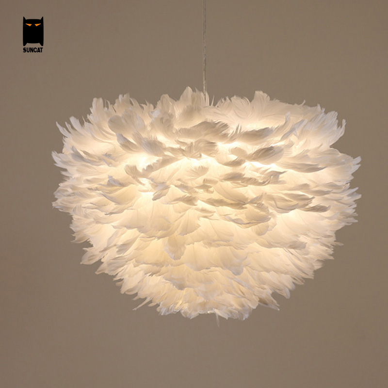 White Feather Pendant Light Fixture Contemporary Nordic Scandinavian Modern Rustic Hanging Lamp Luminaria Indoor Home Bedroom In Lights From