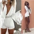 2016 НОВЫЙ Сексуальные Женщины белый с длинным рукавом Playsuit Леди Лето Bodycon Clubwear Партии Комбинезон Romper Брюки