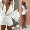 2016 NEW Sexy Women white long sleeve Playsuit Lady Summer Bodycon Party Clubwear Jumpsuit Romper Trousers