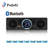 Podofo Bluetooth 1-Din Car Stereo Audio In-Dash MP3 Radio Player USB/TF/AUX/ Audio Player Car Stereo FM Radio Built-in 2 Speaker(China)