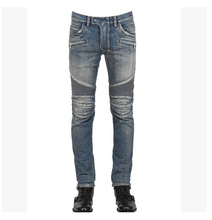Free Shipping !!! New Brand The Hole In The Knee -Level Folding Punk Retro Locomotive Men's Hole Jeans / 28-36