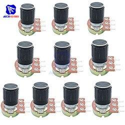 Potenciómetro rotativo con perilla, 10 valores, 10 Uds., 1K, 2K, 5K, 10K, 10K, 20K, 50K, 100K, 250K, 1M, Ohm, 3 pines, eje moleteado, conicidad lineal