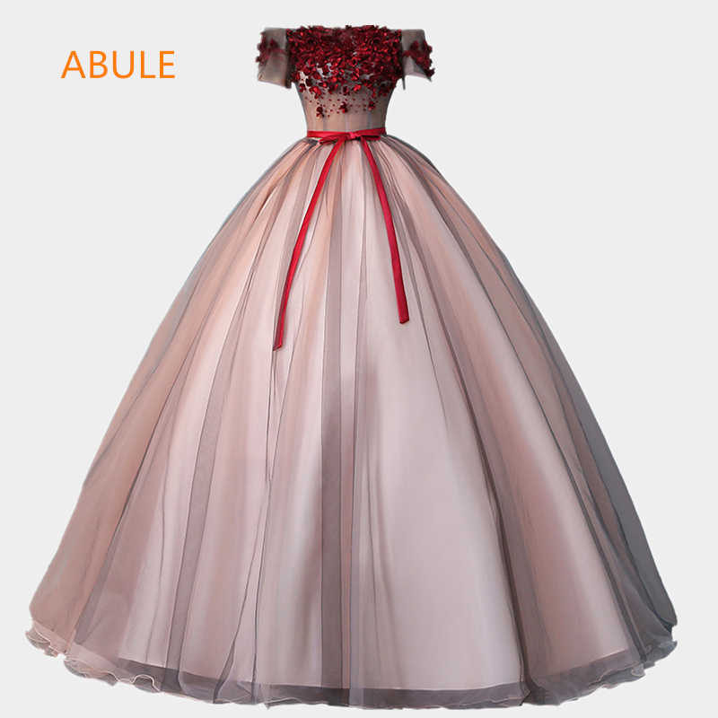 bb668757adb ABULE Quinceanera Dresses flowers lace up Red wine ball gown prom dress  Debutante Gown 15 Years