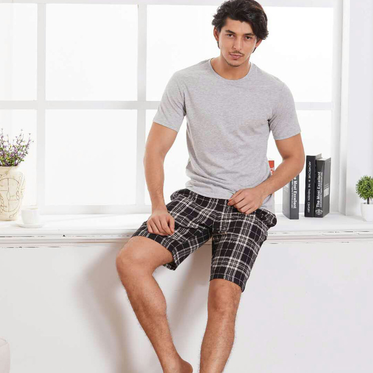 Mens Pajamas Summer Cotton Short Sleeve T-shirt Plaid Shorts Men Sleepwear O-Neck Pyjama Men Pijamas Big Size Pyjama Nightwear