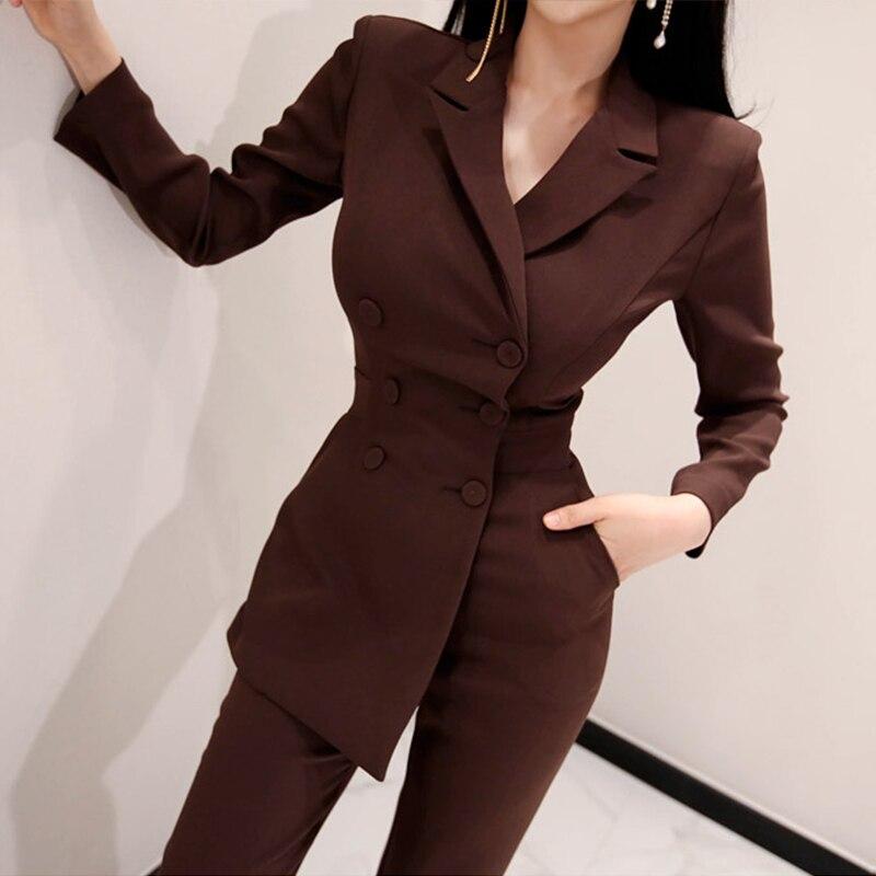 Bureau dames irrégulière Double boutonnage femmes combinaison crantée élégant cheville-longueur pantalon combinaisons Slim taille longue combishort 2018
