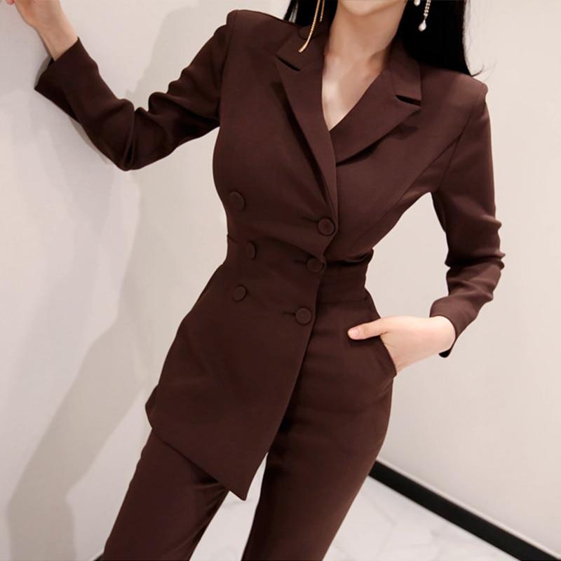 Office Ladies Irregular Double Breasted Women Jumpsuit Notched Elegant Ankle-length Pant Jumpsuits Slim Waist Long Playsuit 2018