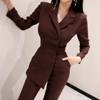 Office Ladies Irregular Double Breasted Women Jumpsuit Notched Elegant Ankle length Pant Jumpsuits Slim Waist Long Playsuit 2018