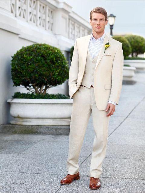 Latest Coat Pant Design Champagne Linen Beach Wedding Men Suit Slim Fit 3 Piece Groom Tuxedo
