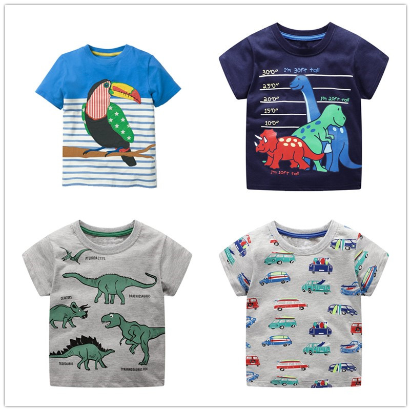 VIDMID Boys T-Shirt Tractor Dinosaur Tees Tops Kids Cotton Children's Cars Summer 2-7Y