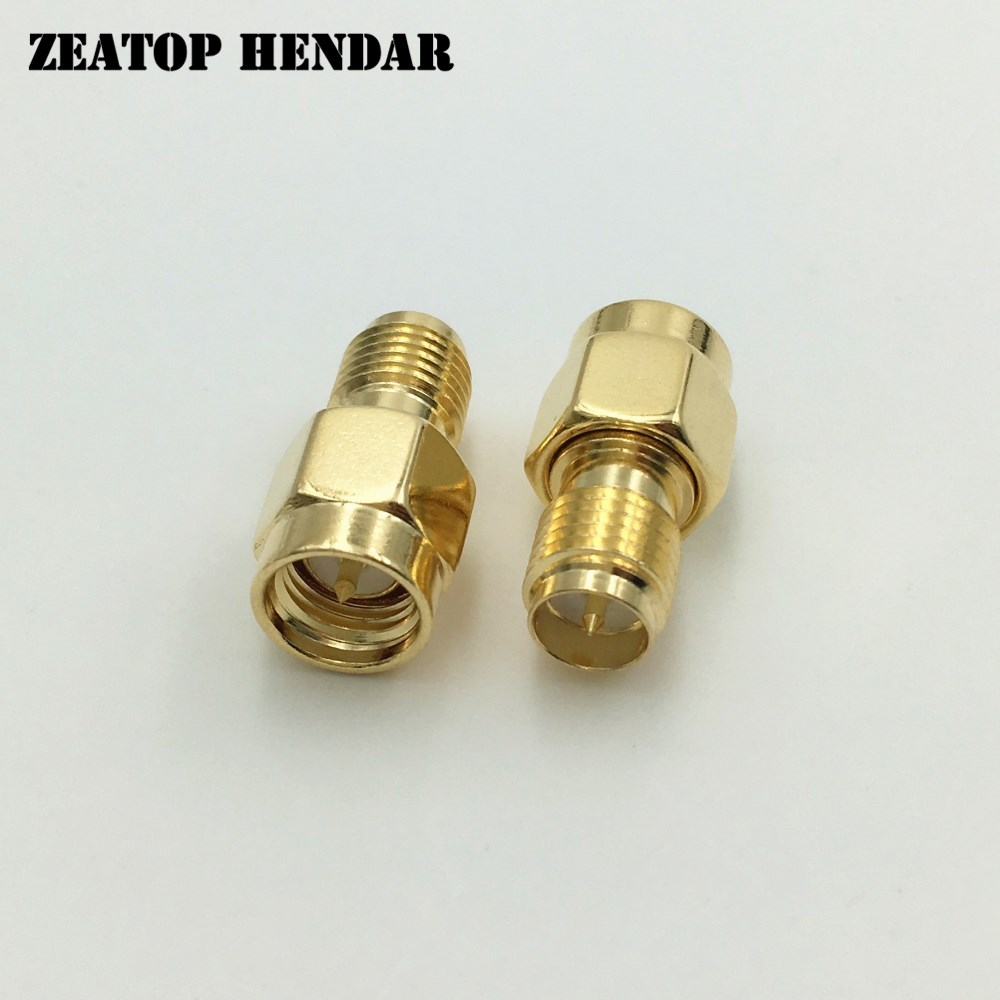 1000Pcs Brass Gold Plated SMA Male Jack to RP SMA Female Plug Straight RF Coaxial Coax