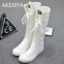 Hot 2017 New Fashion Women's Canvas Boots Lace Zip Knee High Shoes Women Boots Flats Casual Tall Punk Shoes Girls